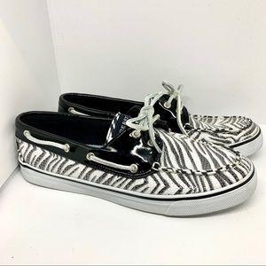 Sperry Sequin Zebra Print Boat Shoes